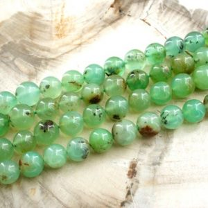 Shop Chrysoprase Round Beads! Chrysoprase Round Beads 8-9mm (etb00168) Unique Jewelry / vintage Jewelry / gemstone Necklace | Natural genuine round Chrysoprase beads for beading and jewelry making.  #jewelry #beads #beadedjewelry #diyjewelry #jewelrymaking #beadstore #beading #affiliate #ad