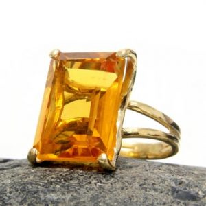 Gold Ring, citrine Ring, november Birthstone Ring, rectangle Cocktail Ring, gold Statement Ring, promise Ring | Natural genuine Citrine rings, simple unique handcrafted gemstone rings. #rings #jewelry #shopping #gift #handmade #fashion #style #affiliate #ad