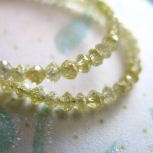 5-20 pcs / 2-2.5 mm DIAMOND Rondelles Beads / Luxe AAA, Faceted, Genuine Yellow Diamonds..precious brides bridal..dry 25 tr solo | Natural genuine faceted Diamond beads for beading and jewelry making.  #jewelry #beads #beadedjewelry #diyjewelry #jewelrymaking #beadstore #beading #affiliate #ad