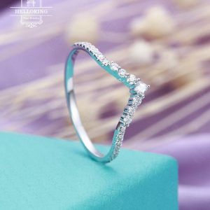 Curved Wedding Band For Women With Princess Cut Diamond In White Gold Micro Pave Half Eternity Jewelry Promise Matching Unique Gift For Her | Natural genuine Gemstone rings, simple unique alternative gemstone engagement rings. #rings #jewelry #bridal #wedding #jewelryaccessories #engagementrings #weddingideas #affiliate #ad