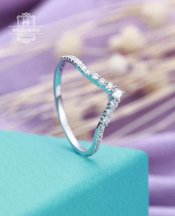 Curved Wedding Band For With Princess Cut Vintage Diamond In White Gold Micro Pave Half Eternity Promise Matching Unique Anniversary Ring