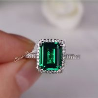 Gorgeous Emerald Ring Emerald Engagement Ring Wedding Ring Anniversary Ring Promise Ring White Gold Plated Silver Ring | Natural genuine Gemstone jewelry. Buy handcrafted artisan wedding jewelry.  Unique handmade bridal jewelry gift ideas. #jewelry #beadedjewelry #gift #crystaljewelry #shopping #handmadejewelry #wedding #bridal #jewelry #affiliate #ad