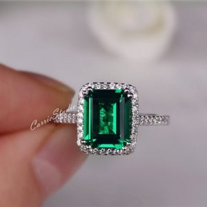 Gorgeous Emerald Ring Emerald Engagement Ring Wedding Ring Anniversary Ring Promise Ring White Gold Plated Silver Ring | Natural genuine Emerald rings, simple unique alternative gemstone engagement rings. #rings #jewelry #bridal #wedding #jewelryaccessories #engagementrings #weddingideas #affiliate #ad