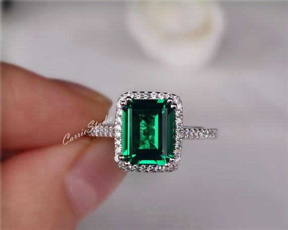 Gorgeous Emerald Ring 9*7 Mm Emerald Engagement Ring Anniversary Ring Promise Ring Gift