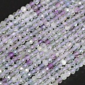 """Shop Fluorite Faceted Beads! Sale 2mm Green & Purple Fluorite Beads A Genuine Natural Gemstone Half Strand Faceted Round Loose Beads 15"""" Bulk Lot Options (107793-2532) 