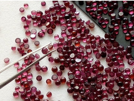 1.5-2.5mm Garnet Round Cabochons, Garnet Flat Back Plain Round Cabochons, Loose Garnet, Garnet For Jewelry (5cts To 20cts Options)  - Ps4000