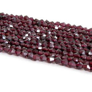 """Shop Garnet Faceted Beads! 4mm Bicone Garnet Beads – Half Strand, Faceted Red Garnets, Faceted Genuine Red Garnets 7"""" Bead Strand, Faceted Red Bicone Beads Half Strand 