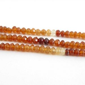 Shop Garnet Faceted Beads! 4mm Hessonite Garnet Rondelle Beads, Shaded Faceted Rondelles, 7 Inch Strand, Half Strand Orange Garnet, Genuine Hessonite Garnets, Hess204 | Natural genuine faceted Garnet beads for beading and jewelry making.  #jewelry #beads #beadedjewelry #diyjewelry #jewelrymaking #beadstore #beading #affiliate #ad