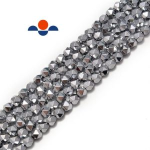 "Shop Hematite Faceted Beads! Silver Plated Hematite Star Cut Nugget Beads 8mm 15.5"" Strand 