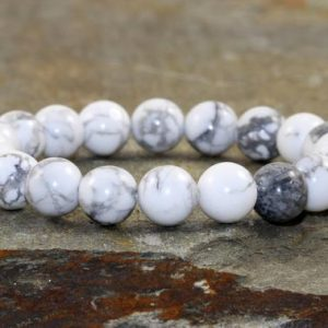 Shop Howlite Bracelets! A Grade 8mm Howlite Bracelet, Wrist Mala Beads, Chakra Jewelry, Yoga Gift, Healing Crystals, Calming+Anger Releasing+Heightened Awareness | Natural genuine Howlite bracelets. Buy crystal jewelry, handmade handcrafted artisan jewelry for women.  Unique handmade gift ideas. #jewelry #beadedbracelets #beadedjewelry #gift #shopping #handmadejewelry #fashion #style #product #bracelets #affiliate #ad