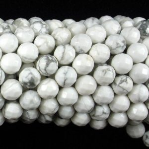 White Howlite Beads, Faceted Round, 8mm, 15.5 Inch, Full strand, Approx 47 beads, Hole 1 mm, A quality (275025002) | Natural genuine faceted Howlite beads for beading and jewelry making.  #jewelry #beads #beadedjewelry #diyjewelry #jewelrymaking #beadstore #beading #affiliate #ad