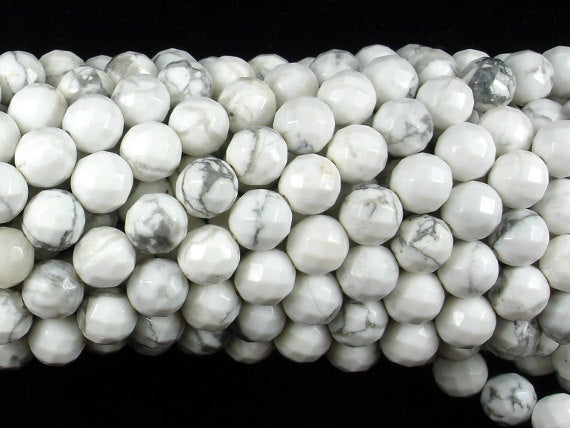 White Howlite Beads, Faceted Round, 8mm, 15.5 Inch, Full Strand, Approx 47 Beads, Hole 1 Mm, A Quality (275025002)