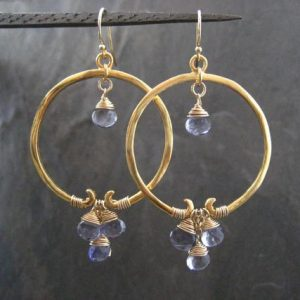 Shop Iolite Earrings! Iolite hoops, iolite earrings, blue dangle, gemstone hoops, circle earrings, genuine iolite, drop earrings | Natural genuine Iolite earrings. Buy crystal jewelry, handmade handcrafted artisan jewelry for women.  Unique handmade gift ideas. #jewelry #beadedearrings #beadedjewelry #gift #shopping #handmadejewelry #fashion #style #product #earrings #affiliate #ad