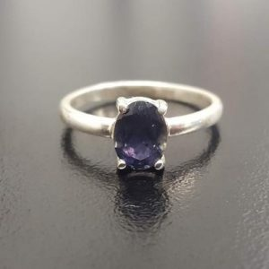 Shop Iolite Rings! Iolite Ring, Natural Iolite Ring, Violet Ring, Solitaire Ring, Purple Ring, Vintage Rings, Promise Ring, Solid Silver Ring, Iolite | Natural genuine Iolite rings, simple unique handcrafted gemstone rings. #rings #jewelry #shopping #gift #handmade #fashion #style #affiliate #ad