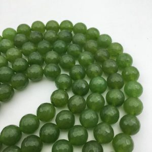 "Shop Jade Faceted Beads! Green Dyed Jade Faceted Round Size 10mm 12mm 15.5""strand 