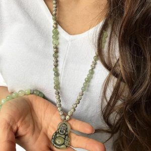 Happy Buddha Carved Jade And Lotus Seeds Mala Necklace / Prayer / Meditation / Mala / Necklace / Spiritual Jewelry | Natural genuine Gemstone necklaces. Buy crystal jewelry, handmade handcrafted artisan jewelry for women.  Unique handmade gift ideas. #jewelry #beadednecklaces #beadedjewelry #gift #shopping #handmadejewelry #fashion #style #product #necklaces #affiliate #ad