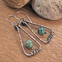 African Turquoise Jasper Earrings, Light Green Gemstone Jewelry Copper, Rustic Mixed Metal Dangles, Unique Artisan | Natural genuine Gemstone jewelry. Buy crystal jewelry, handmade handcrafted artisan jewelry for women.  Unique handmade gift ideas. #jewelry #beadedjewelry #beadedjewelry #gift #shopping #handmadejewelry #fashion #style #product #jewelry #affiliate #ad