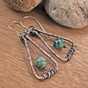 African Turquoise Jasper Earrings, Light Green Gemstone Jewelry Copper, Rustic Mixed Metal Dangles, Unique Artisan | Natural genuine Jasper earrings. Buy crystal jewelry, handmade handcrafted artisan jewelry for women.  Unique handmade gift ideas. #jewelry #beadedearrings #beadedjewelry #gift #shopping #handmadejewelry #fashion #style #product #earrings #affiliate #ad