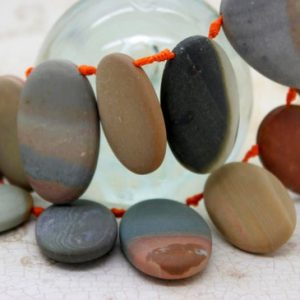 Shop Jasper Bead Shapes! Picasso Jasper Gemstone Natural Flat Oval Loose Beads – 30mm x 20mm | Natural genuine other-shape Jasper beads for beading and jewelry making.  #jewelry #beads #beadedjewelry #diyjewelry #jewelrymaking #beadstore #beading #affiliate #ad