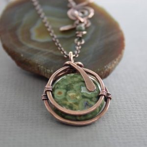 Captured Moss Green Jasper Copper Pendant On Chain With A Decorative Clasp – Copper Necklace – Jasper Necklace – Coin Shape Pendant – Nk018 | Natural genuine Jasper jewelry. Buy crystal jewelry, handmade handcrafted artisan jewelry for women.  Unique handmade gift ideas. #jewelry #beadedjewelry #beadedjewelry #gift #shopping #handmadejewelry #fashion #style #product #jewelry #affiliate #ad