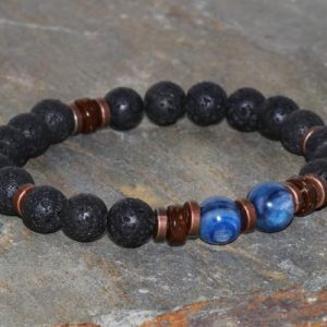 Shop Kyanite Bracelets! Men's Volcanic Lava & Blue Kyanite Bracelet, Yoga Mala Beads, Gift For Him, Buddhist Meditation, Coconut, strength-spirituality-stress Relief | Natural genuine Kyanite bracelets. Buy crystal jewelry, handmade handcrafted artisan jewelry for women.  Unique handmade gift ideas. #jewelry #beadedbracelets #beadedjewelry #gift #shopping #handmadejewelry #fashion #style #product #bracelets #affiliate #ad