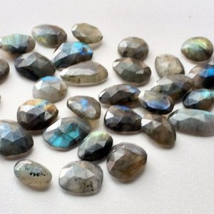 Shop Labradorite Cabochons! Labradorite Rose Cut, Labradorite Flat Back Cabochons, Rose Cut Faceted Gemstones, 20-27mm Each, 5 Pieces | Natural genuine stones & crystals in various shapes & sizes. Buy raw cut, tumbled, or polished gemstones for making jewelry or crystal healing energy vibration raising reiki stones. #crystals #gemstones #crystalhealing #crystalsandgemstones #energyhealing #affiliate #ad
