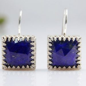 Lapis Lazuli Earrings, square Gemstone Earrings, dangle Earrings, hook Earrings, silver Earrings, stone Earrings | Natural genuine Lapis Lazuli earrings. Buy crystal jewelry, handmade handcrafted artisan jewelry for women.  Unique handmade gift ideas. #jewelry #beadedearrings #beadedjewelry #gift #shopping #handmadejewelry #fashion #style #product #earrings #affiliate #ad