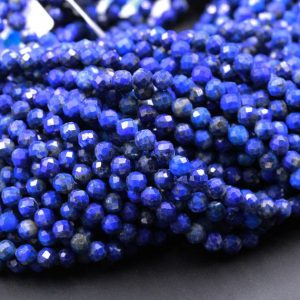 "Micro Faceted Natural Blue Lapis 2mm 3mm 4mm 5mm 6mm Round Beads 15.5"" Strand 