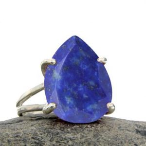 Shop Lapis Lazuli Rings! Lapis Ring, teardrop Ring, silver Ring, 925 Silver Rings, prong Setting Ring, double Band Ring, gemstone Ring, semiprecious | Natural genuine Lapis Lazuli rings, simple unique handcrafted gemstone rings. #rings #jewelry #shopping #gift #handmade #fashion #style #affiliate #ad