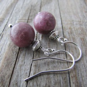 Shop Lepidolite Earrings! Lepidolite Earrings, small and simple, purple lepidolite dangle earrings | Natural genuine Lepidolite earrings. Buy crystal jewelry, handmade handcrafted artisan jewelry for women.  Unique handmade gift ideas. #jewelry #beadedearrings #beadedjewelry #gift #shopping #handmadejewelry #fashion #style #product #earrings #affiliate #ad