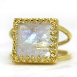 Shop Moonstone Rings! Gold Moonstone Ring, square Ring, bridal Ring, lace Prongs Ring, 14k Gold Filled Ring, custom Ring, personalized Ring | Natural genuine Moonstone rings, simple unique alternative gemstone engagement rings. #rings #jewelry #bridal #wedding #jewelryaccessories #engagementrings #weddingideas #affiliate #ad