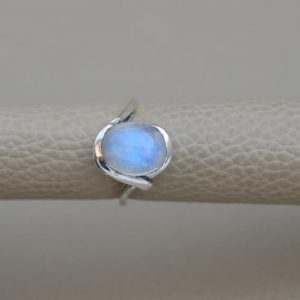 Natural Rainbow Moonstone Ring-Blue Fire Moonstone Ring-Handmade Silver Ring-925 Sterling Silver Ring-Designer Moonstone Ring-Promise Ring | Natural genuine Moonstone rings, simple unique handcrafted gemstone rings. #rings #jewelry #shopping #gift #handmade #fashion #style #affiliate #ad