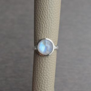 Natural Rainbow Moonstone Ring-Blue Fire Moonstone Ring-Handmade Silver Ring-925 Sterling Silver-Round Moonstone-Gift for her-Promise Ring | Natural genuine Moonstone rings, simple unique handcrafted gemstone rings. #rings #jewelry #shopping #gift #handmade #fashion #style #affiliate #ad