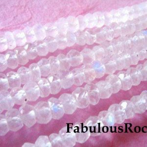 MOONSTONE RONDELLES Beads, Luxe AAA, 1/2 Strand, 3-4 mm, super blue flashes  / june birthstone gemstone true brides bridal solo | Natural genuine rondelle Moonstone beads for beading and jewelry making.  #jewelry #beads #beadedjewelry #diyjewelry #jewelrymaking #beadstore #beading #affiliate #ad