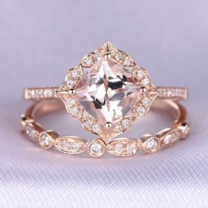 2pcs Rose Gold Ring Set Morganite Engagement Ring 14k Rose Gold Art Deco Diamond Matching Band 7mm Cushion Cut Personalized For Her / him | Natural genuine Gemstone rings, simple unique alternative gemstone engagement rings. #rings #jewelry #bridal #wedding #jewelryaccessories #engagementrings #weddingideas #affiliate #ad