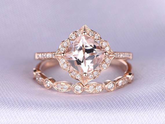 2pcs Rose Gold Ring Set Morganite Engagement Ring 14k Rose Gold Art Deco Diamond Matching Band 7mm Cushion Cut Personalized For Her/him