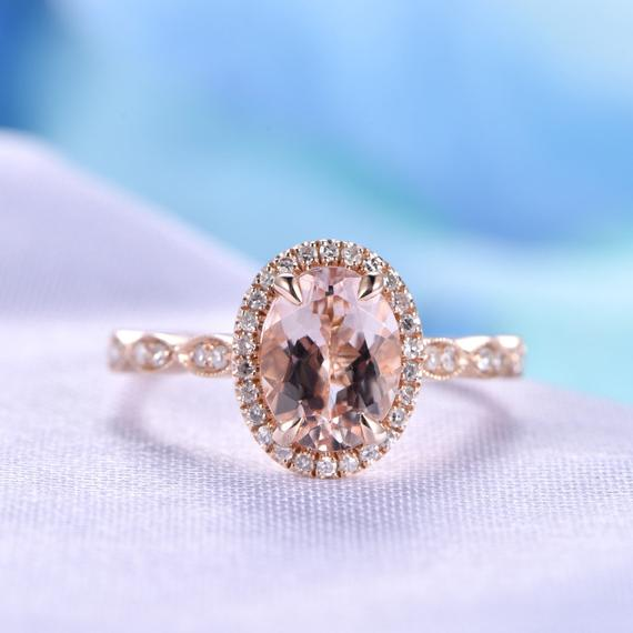 Morganite Engagement Ring 6x8mm Oval Cut Pink Morganite Ring Art Deco Wedding Ring Promise Ring Personalized For Him/her Vintage Style Ring