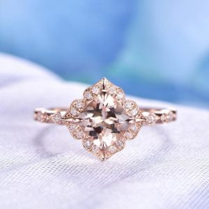 Morganite Engagement Ring Pink Morganite Ring 7mm Cushion Cut Gemstone Ring Diamond Wedding Band Retro Vintage Floral Style 14K Rose Gold | Natural genuine Gemstone rings, simple unique alternative gemstone engagement rings. #rings #jewelry #bridal #wedding #jewelryaccessories #engagementrings #weddingideas #affiliate #ad
