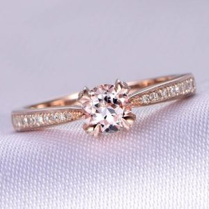Pink Morganite Engagement Ring 6.5mm Round Cut Morganite Ring 14k Rose Gold Diamond Wedding Band Promise Ring Bridal Ring Custom Ring | Natural genuine Gemstone rings, simple unique alternative gemstone engagement rings. #rings #jewelry #bridal #wedding #jewelryaccessories #engagementrings #weddingideas #affiliate #ad