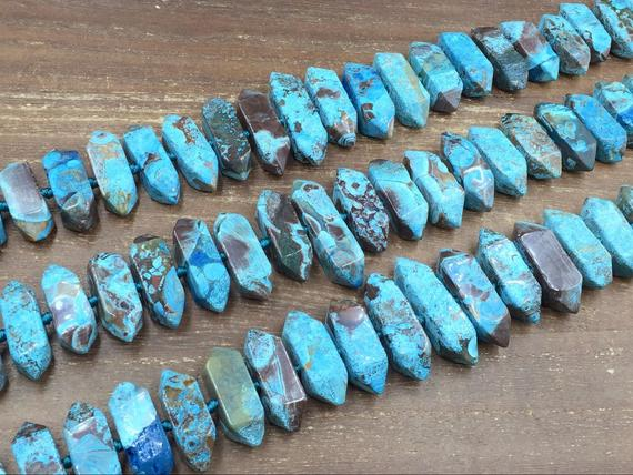 """Faceted Ocean Jasper Stick Beads Double Terminated Sea Sediment Jasper Point Slice Beads Jewelry Bead Supplies Graduated 25-40mm 15.5""""strand"""