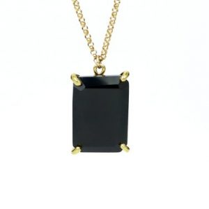 Shop Onyx Pendants! Black Onyx Pendant Necklace, rectangle Pendant, gold Necklace, semiprecious Pendant, gold Prong Pendant | Natural genuine Onyx pendants. Buy crystal jewelry, handmade handcrafted artisan jewelry for women.  Unique handmade gift ideas. #jewelry #beadedpendants #beadedjewelry #gift #shopping #handmadejewelry #fashion #style #product #pendants #affiliate #ad
