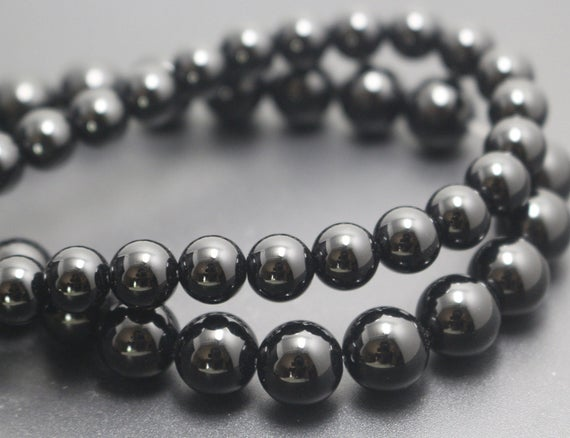 Natural Black Onyx Beads,4mm/6mm/8mm/10mm/12mm Natural Smooth And Round  Beads,15 Inches One Starand