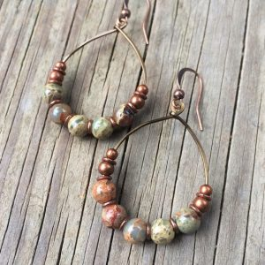 Shop Opal Jewelry! Copper Hoop Earrings, Copper Anniversary Gift For Wife, Copper Jewelry, African Opal Hoop Earrings | Natural genuine Opal jewelry. Buy crystal jewelry, handmade handcrafted artisan jewelry for women.  Unique handmade gift ideas. #jewelry #beadedjewelry #beadedjewelry #gift #shopping #handmadejewelry #fashion #style #product #jewelry #affiliate #ad