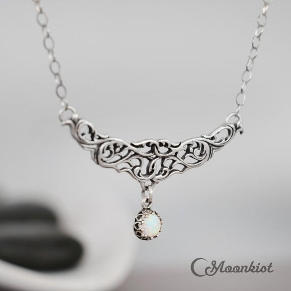 White Opal Necklace Silver, Sterling Silver Opal Necklace, Elven Necklace, Opal Bib Necklace   Moonkist Designs