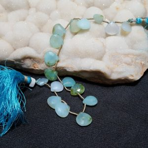 Peruvian Opal Faceted Briolette Beads 8 In. Blue Green Peruvian Opal Bead, Genuine Opal, Semi Precious Gemstone, Heart Beads | Natural genuine other-shape Gemstone beads for beading and jewelry making.  #jewelry #beads #beadedjewelry #diyjewelry #jewelrymaking #beadstore #beading #affiliate #ad