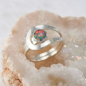 Shop Opal Rings! Blue Fire Opal Ring, Black Opal Ring, Iridescent Opal Gemstone Ring, Rainbow Silver Stone Ring, Handmade Sterling Silver Statement Ring | Natural genuine Opal rings, simple unique handcrafted gemstone rings. #rings #jewelry #shopping #gift #handmade #fashion #style #affiliate #ad
