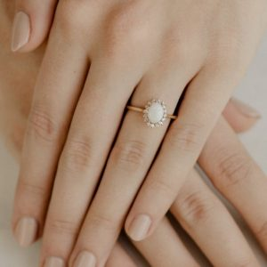 Opal Engagement Ring | Oval Engagement Ring | Opal Halo Ring | Delicate Opal Ring | White Opal Gold Ring | White Opal Ring [the Aurora Ring] | Natural genuine Gemstone rings, simple unique alternative gemstone engagement rings. #rings #jewelry #bridal #wedding #jewelryaccessories #engagementrings #weddingideas #affiliate #ad