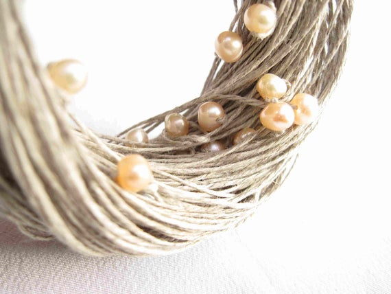 Pearl Wedding Necklace Natural Linen Jewelry Mother's Day Gift Cream Rose Peachy Beige Gray Multistrand Summer Bridal Fashion
