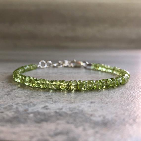 Peridot Bracelet With Extender | Adjustable Sterling Silver Extender Chain |  5 6 7 8 9 10 Inches | Small Or Large Wrists | Peridot Jewelry