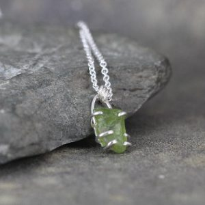 Shop Peridot Pendants! Uncut Raw Rough Peridot Necklace Pendant – Sterling Silver – August Birthstone – Raw Olivine Gemstone – Apple Green Stone – Rustic Necklace | Natural genuine Peridot pendants. Buy crystal jewelry, handmade handcrafted artisan jewelry for women.  Unique handmade gift ideas. #jewelry #beadedpendants #beadedjewelry #gift #shopping #handmadejewelry #fashion #style #product #pendants #affiliate #ad